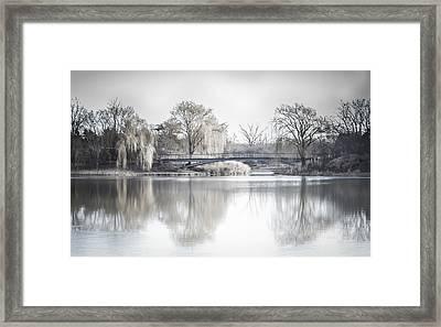 Reflection Over Lake Winter Scene Framed Print by Julie Palencia