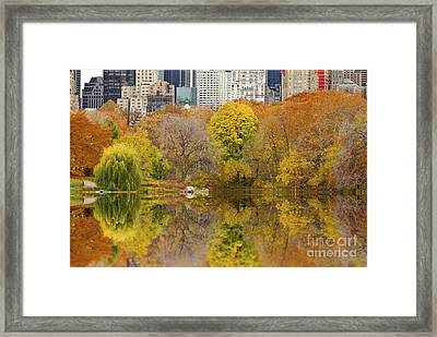 Reflections In Central Park New York City Framed Print by Sabine Jacobs