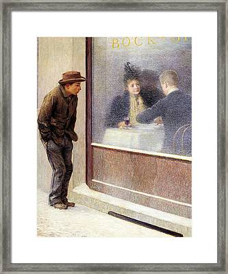 Reflections Of A Hungry Man Or Social Contrasts Framed Print by Emilio Longoni
