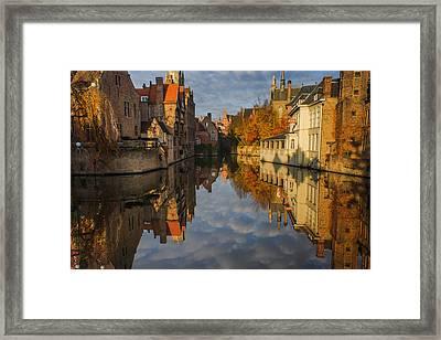 Reflections Of Bruges Framed Print by Chris Fletcher