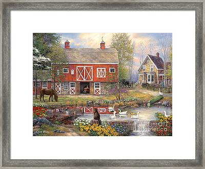 Reflections On Country Living Framed Print by Chuck Pinson