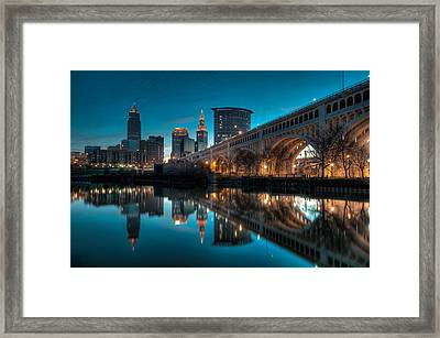 Reflections On The Cuyahoga Framed Print by At Lands End Photography