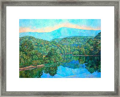Reflections On The James River Framed Print by Kendall Kessler