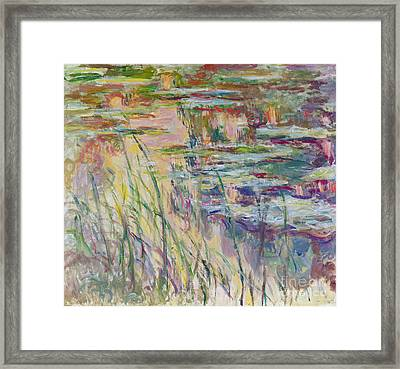 Reflections On The Water Framed Print by Claude Monet