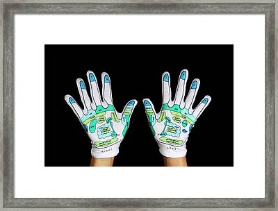 Reflexology Hand Maps Framed Print by Cordelia Molloy
