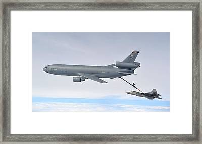 Refueling The F-22 Raptor Framed Print by Staff Sgt Andy M Kin