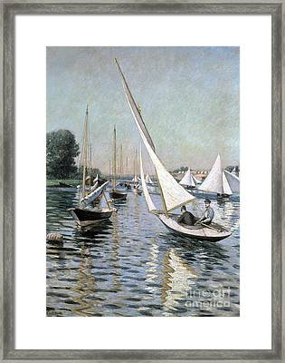 Regatta At Argenteuil Framed Print by Gustave Caillebotte