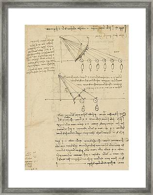 Register Of Milan Cathedral Weight And Study Of Relationship Between Position Of Beam Framed Print by Leonardo Da Vinci
