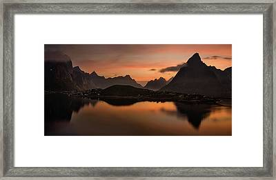 Reine Village With Dark Mountains Framed Print by Panoramic Images