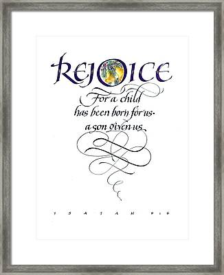 Rejoice For A Child Framed Print by Judy Dodds