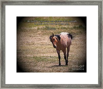 Rejoice In His Strength Framed Print by Janice Rae Pariza