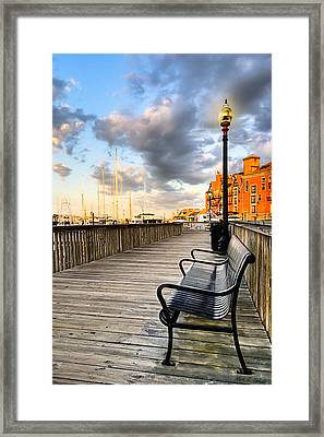 Relax And Watch The Sunset In Boston Framed Print by Mark E Tisdale
