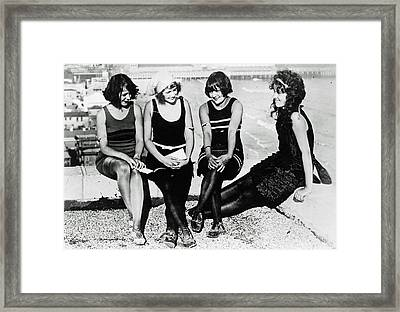 Relaxing Bathing Beauties Framed Print by Jeff Taylor