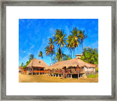 Relaxing Beneath Palm Trees On A Tropical Beach - Nicaragua Framed Print by Mark E Tisdale