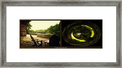 Relaxing By The River End Of The Path Polar View Fullersburg Woods 2 Panel Framed Print by Thomas Woolworth