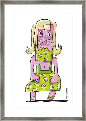 Relaxing Woman Doodle Character Framed Print by Frank Ramspott