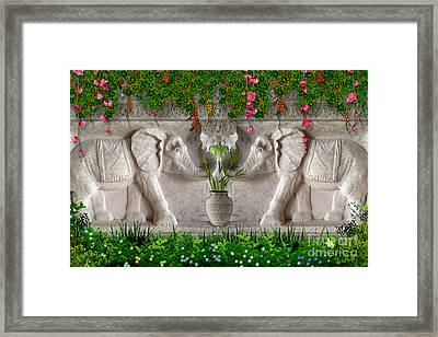 Relief Of African Elephants Framed Print by Bedros Awak