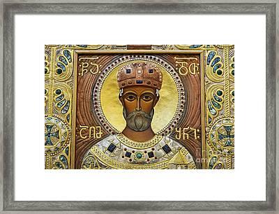 Religious Art Inside The Tsminda Sameba Cathedral Framed Print by Robert Preston