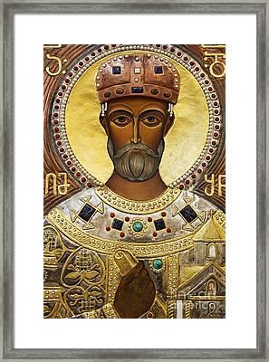 Religious Art Inside The Tsminda Sameba Cathedral Tbilisi Framed Print by Robert Preston