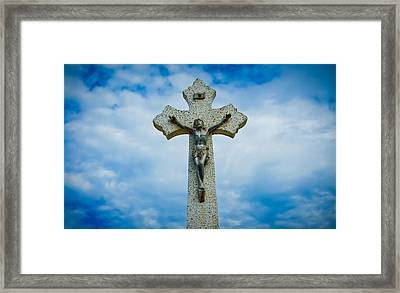 Religious Cross Framed Print by Aged Pixel