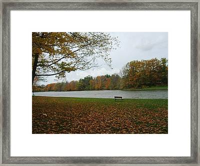Reminiscent Park Bench Framed Print by Suzanne Perry