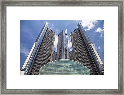 Renaissance Center From River Framed Print by John McGraw