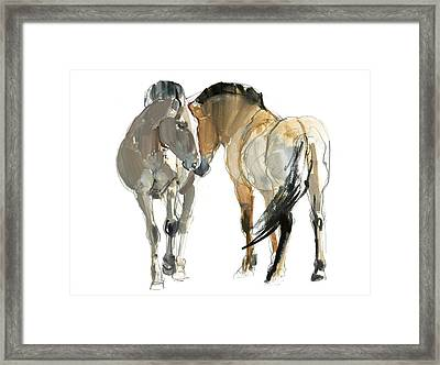 Rencontre Przewalski, 2013, Watercolour And Pigment On Paper Framed Print by Mark Adlington