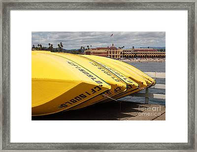 Rental Boats On The Municipal Wharf At Santa Cruz Beach Boardwalk California 5d23795 Framed Print by Wingsdomain Art and Photography
