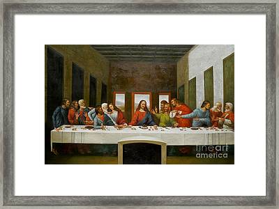 Rep- Oil Painting Last Supper On Canvas#16-2-5-35 Framed Print by Hongtao     Huang
