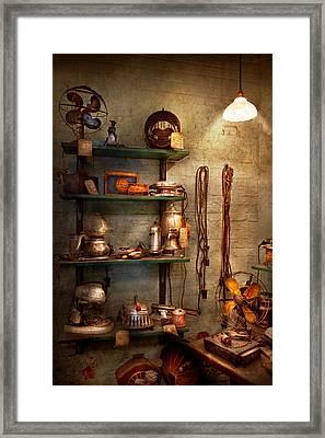 Repair - In The Corner Of A Repair Shop Framed Print by Mike Savad