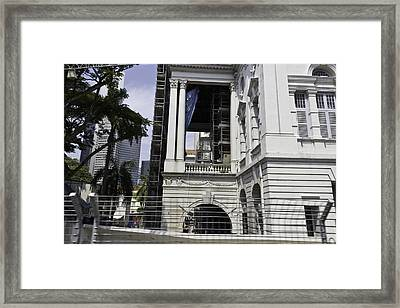 Repair Work Ongoing In The Victoria Theatre And Memorial Hall In Singapore Framed Print by Ashish Agarwal