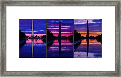 Repairing The Monument Triptych Framed Print by Metro DC Photography