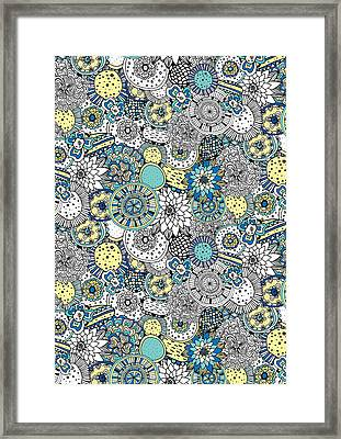 Repeat Print - Floral Burst Framed Print by Susan Claire