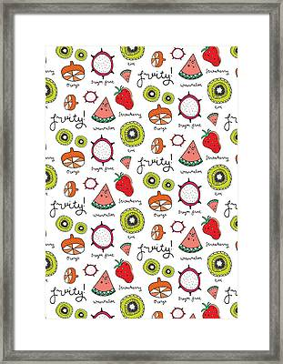 Repeat Print - Fruits Framed Print by Susan Claire