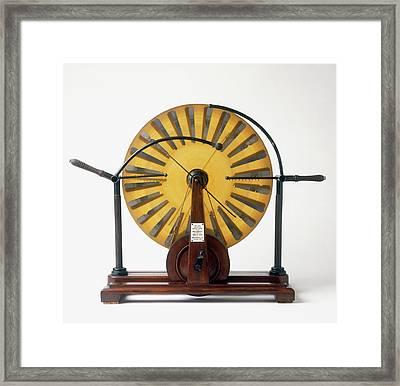 Replica Of Wimshurst Machine Framed Print by Dorling Kindersley/uig