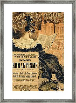 Reproduction Of A Poster Advertising A Book Entitled The Romantic Age Framed Print by Eugene Grasset