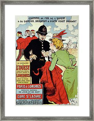 Reproduction Of A Poster Advertising Framed Print by Jules Alexandre Gruen or Grun