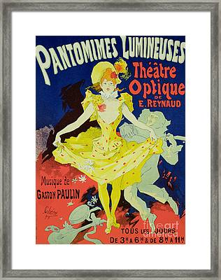 Reproduction Of A Poster Advertising 'pantomimes Lumineuses' At The Musee Grevin Framed Print by Jules Cheret