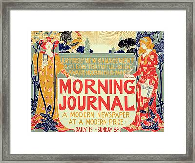 Reproduction Of A Poster Advertising The Morning Journal Framed Print by Louis John Rhead