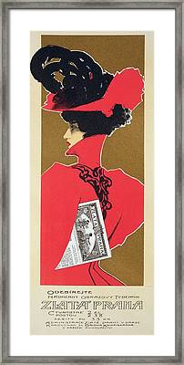 Reproduction Of A Poster Advertising 'zlata Praha' A Weekly Illustrated Newspaper Framed Print by Czech School