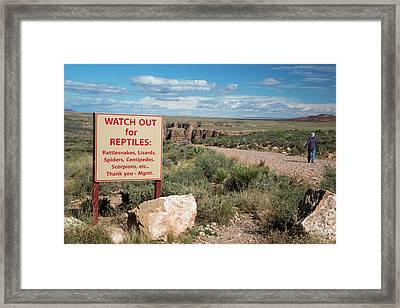 Reptile Warning Sign Framed Print by Jim West