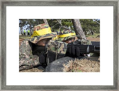 Republic Of Korea Marines Shooting Framed Print by Stocktrek Images