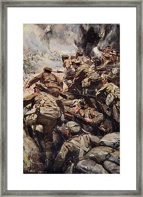 Repulsing A Frontal Attack With Rifle Framed Print by Cyrus Cuneo