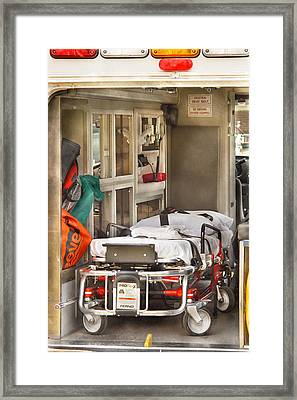 Rescue - Inside The Ambulance Framed Print by Mike Savad