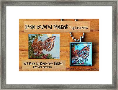 Resin Pendant With Butterfly And Sky Framed Print by Carla Parris