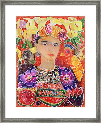 Respects To Frida Kahlo, 2002 Coloured Ink On Silk Framed Print by Hilary Simon