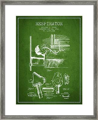 Respirator Patent From 1911 - Green Framed Print by Aged Pixel