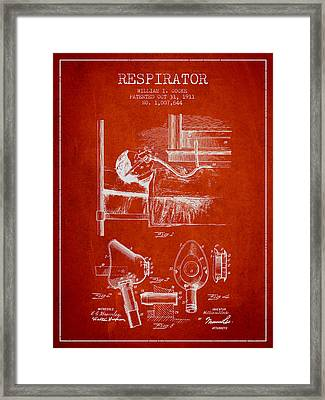 Respirator Patent From 1911 - Red Framed Print by Aged Pixel