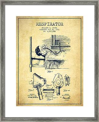 Respirator Patent From 1911 - Vintage Framed Print by Aged Pixel