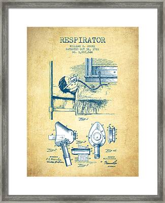 Respirator Patent From 1911 - Vintage Paper Framed Print by Aged Pixel